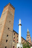 The architectures of Cremona. Italy, Cremona, view of the town center towers and Della Pace column Stock Image