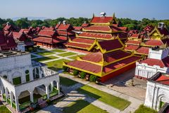 Houses in royal palace, Mandalay, Myanmar. stock photos