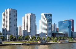 The architectures and landscapes of Rotterdam. Rotterdam, The Nederlands - July 18, 2016: Modern architectures on the Maas river bank Stock Photography