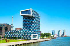 The architectures and landscapes of Rotterdam. Rotterdam, The Nederlands - July 18, 2016: The modern architectures of the  Shipping and Transport College on the Royalty Free Stock Photo