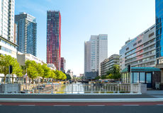 The architectures and landscapes of Rotterdam. Rotterdam, The Nederlands - July 18, 2016: Modern architectures in the Wijnhaven canal area Royalty Free Stock Photo