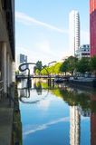 The architectures and landscapes of Rotterdam. Rotterdam, The Nederlands - July 18, 2016: Modern architectures in the Wijnhaven canal area with the Ibis bridge Royalty Free Stock Photography