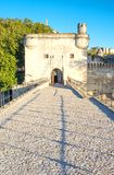 Architectures and monuments of Avignon. France, Avignon, the St Benezet bridge, also known as the Bridge of Avignon, on the Rhone river Royalty Free Stock Photography