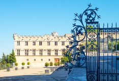 Architectures and monuments of Avignon. France, Avignon, Palace square, the Archbishops palace, also known as Petit Palace Royalty Free Stock Photography