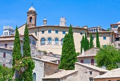 Architectures and religion in Assisi. Italy,Umbria,Assisi, the architectures of of the old country center Royalty Free Stock Image