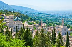 Architectures and religion in Assisi. Italy,Umbria,Assisi,the town and  the valley seen from La Rocca castle Stock Photography