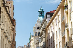 Architectures on the street in the center of Prague. Czech Republic Royalty Free Stock Photo