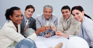 Architectutal team celebrating a success Royalty Free Stock Photo