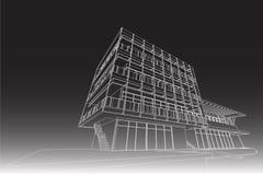 Architectuur abstracte, 3d illustratie, de bouw structuur commercieel de bouwontwerp Royalty-vrije Stock Foto's
