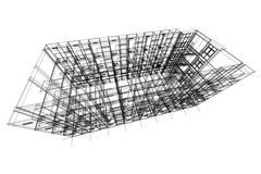 Architectuur abstracte, 3d illustratie, de bouw structuur commercieel de bouwontwerp Royalty-vrije Stock Fotografie