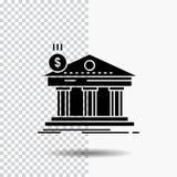 Architectuur, bank, bankwezen, de bouw, federaal Glyph-Pictogram op Transparante Achtergrond Zwart pictogram royalty-vrije illustratie