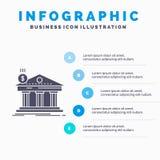 Architectuur, bank, bankwezen, de bouw, federaal Infographics-Malplaatje voor Website en Presentatie GLyph Grijs pictogram met Bl stock illustratie