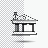 Architectuur, bank, bankwezen, de bouw, federaal Lijnpictogram op Transparante Achtergrond Zwarte pictogram vectorillustratie vector illustratie