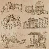 Architectuur, Beroemde plaatsen - Hand getrokken vectoren vector illustratie