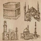 Architectuur, Beroemde plaatsen - Hand getrokken vectoren stock illustratie
