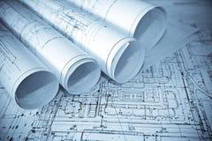 Architectuur blauwe plannen. Stock Afbeeldingen