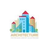 Architectuur - de vectorillustratie van het tekenconcept in vlak stijlontwerp Onroerende goederencreatief teken Bouw vectorteken royalty-vrije illustratie