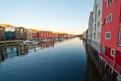 Architectuur en de bouw van de Noorse stad Royalty-vrije Stock Foto