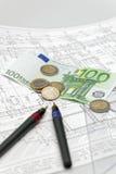 Architectuur en euro Royalty-vrije Stock Afbeelding