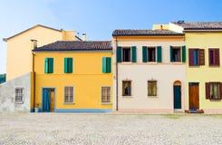 Architectuur en kanalen van Comacchio Stock Foto