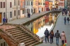 Architectuur en kanalen van Comacchio Royalty-vrije Stock Afbeelding