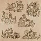 Architectuur en plaatsen rond de wereld - tekeningen uit de vrije hand Stock Afbeeldingen