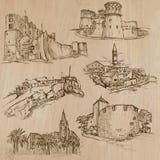 Architectuur en plaatsen rond de wereld - tekeningen uit de vrije hand Stock Afbeelding