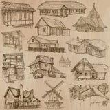 Architectuur en plaatsen rond de wereld - tekeningen uit de vrije hand Stock Fotografie