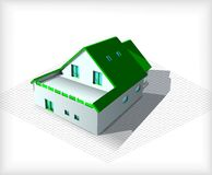 Architectuur Modelhouse on top van Blauwdrukken Stock Fotografie