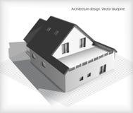 Architectuur Modelhouse on top van Blauwdrukken Royalty-vrije Stock Foto's