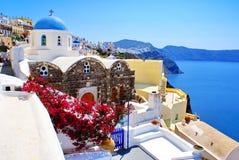 Architectuur op eiland Santorini Stock Foto