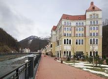 Architectuur in Rosa Khutor Alpine Resort Royalty-vrije Stock Foto