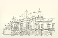 Architectuur schets Tekening van de bouw stock illustratie