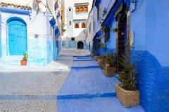 Architectuur van Chefchaouen, Marokko stock fotografie