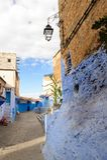Architectuur van Chefchaouen, Marokko stock foto's