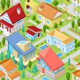 Architectuur van de huis de vector isometrische huisvesting of de woonreeks van de huisillustratie van huishouden de bouwbuitenka royalty-vrije illustratie