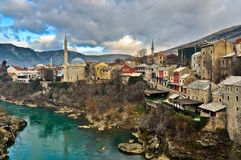 Architectuur van de Mostar de Oude Stad Royalty-vrije Stock Foto