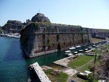 Architectuur van de oude stad van Kerkira op het Eiland Korfu royalty-vrije stock foto