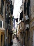 Architectuur van de oude stad van Kerkira op het Eiland Korfu stock fotografie
