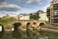 Architectuur van de Rivier van Metz en van Moezel stock afbeeldingen