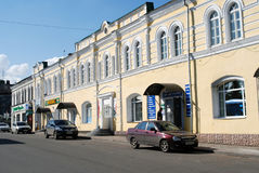 Architectuur van de stad van Rybinsk, Rusland Historisch stadscentrum Royalty-vrije Stock Afbeeldingen