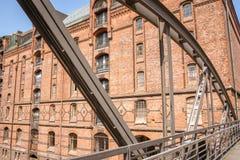 Architectuur van een oud Speicherstadt-Pakhuisdistrict in Hamburg royalty-vrije stock fotografie