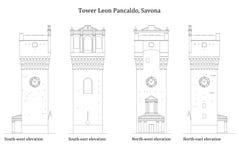 Architectuur van een oude middeleeuwse toren royalty-vrije stock fotografie