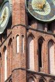 Architectuur van historisch stadhuis in Gdansk, Polen Stock Foto's