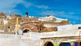 Architectuur van oude Essaouira-stad, Marokko stock afbeeldingen
