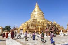Architectuur van Shwezigon-Pagode in Bagan Royalty-vrije Stock Afbeelding