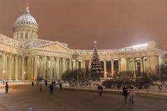 Architectuur van St. Petersburg Kazan Kathedraal in de winter Stock Fotografie