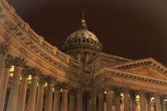 Architectuur van St. Petersburg Kazan Kathedraal in de winter Stock Afbeelding