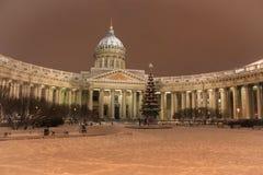 Architectuur van St. Petersburg Kazan Kathedraal in de winter Stock Foto