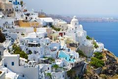 Architectuur van stad Fira in Griekenland Stock Foto's